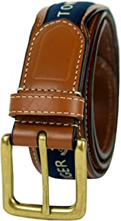 Men's Ribbon Inlay Belt - Ribbon Fabric Design with...