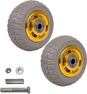 YJJT Trolley Vervangingswiel, Stevige rubberen wielen, met dubbele lagers en montageaccessoires, stil en glad, lagerdiamet...
