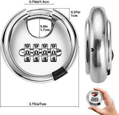 4 Digit Combination Disc Padlock Combo Lock - Stainless Steel Rust-Proof Round Lock with Hardened Steel Shackle for Door Ware