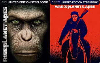 Revolution of the Apes Steelbook Double Feature Sci-Fi Rise of the Planet of the Apes + War for the Planet of the Apes Movie 2 Pack Limited Edition Set
