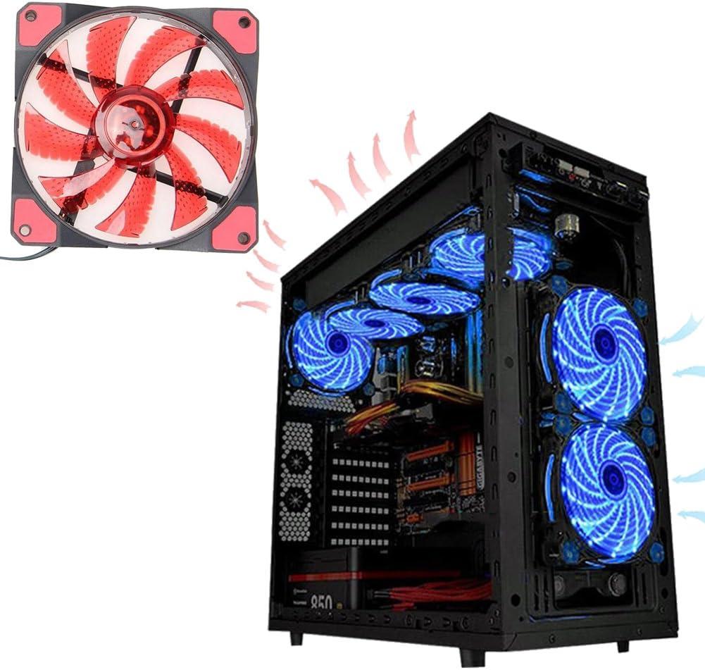 120mm Cooling Fan,53CFM 1200RPM 120mm Low Noise 16DB LED Light Neon CPU Cooling Fan Case Fan 12V DC 3//4 Pin Mining Case Cooling Fan Sleeve Bearing Cooler RED
