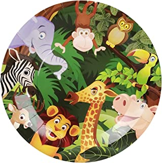 Cieovo 24 Count Disposable Plates Safari Jungle Animal Party Paper Plates Dinner Dessert Plates for Baby Shower Kids Animals Theme Birthday Party Supplies