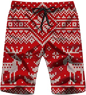 Winter Holiday Knitted Christmas The Arts Holidays Men's Swim Trunks Beach Short Board Shorts