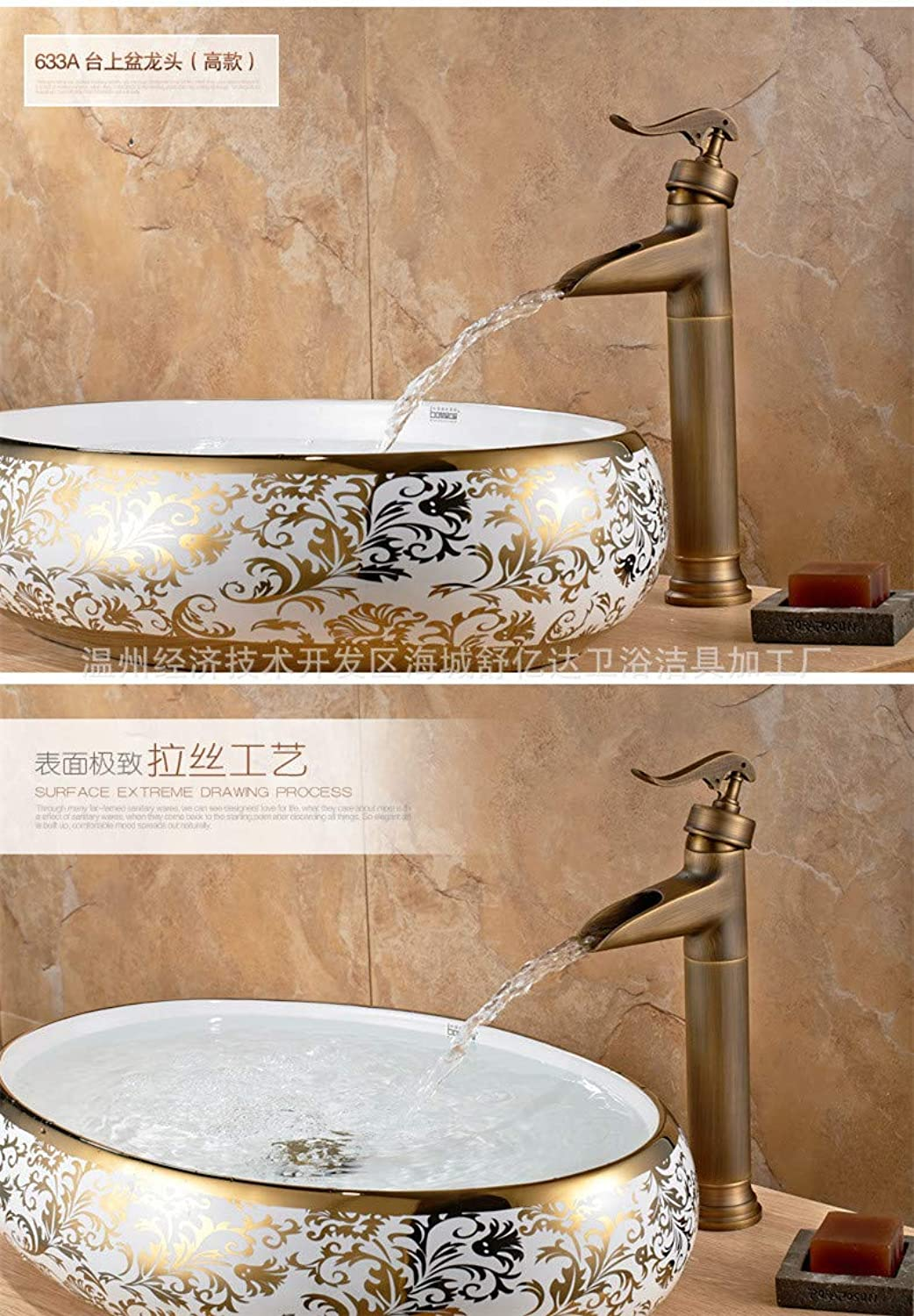 Antique Basin Faucet hot and Cold Water Retro Faucet Copper European Foreign Trade Above Counter Basin Faucet