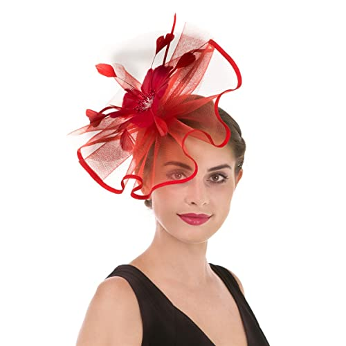 a7246c1857bad Fascinator Hat Feather Mesh Net Veil Party Hat Ascot Hats Flower Derby Hat  with Clip and