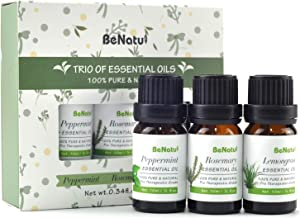 Benatu Essential Oils Trio Set (Peppermint, Rosemary, Lemongrass), Pure Therapeutic Grade for Diffuser or Humidifier, Organic Starter Aromatherapy Oil Kit for Skin Massage or Hair Care 10ml each