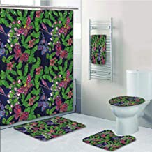 Bathroom 5 Piece Set Shower Curtain 3D Print Customized,Flower,Tropical Vivid Petal Leaf Butterfly Dragonfly Forest Artwork Decorative,Navy Blue Fern Green Pink Purple,Graph Customization