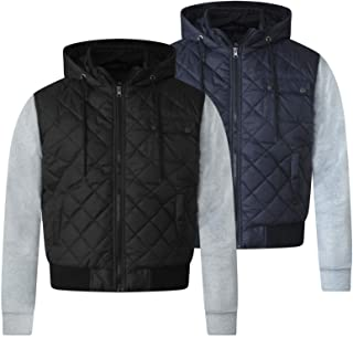 D555 MENS HOODED QUILTED JACKET FLEECE SLEEVES CHARCOAL NAVY S M L XL XXL 131241
