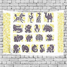 GULTMEE Wall Tapestry with Art Nature Home Decorations for Living Room Bedroom Dorm Decor - African Animals List Zebra Toucan Peacock Warthog Monkeys Jackal Cute - 40x60 inch