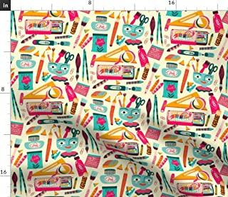 Sponsored Ad - Spoonflower Fabric - Happy Art Home Small Scale Ink Scissors Tape Rainbow Notebook Paper Printed on Petal S...