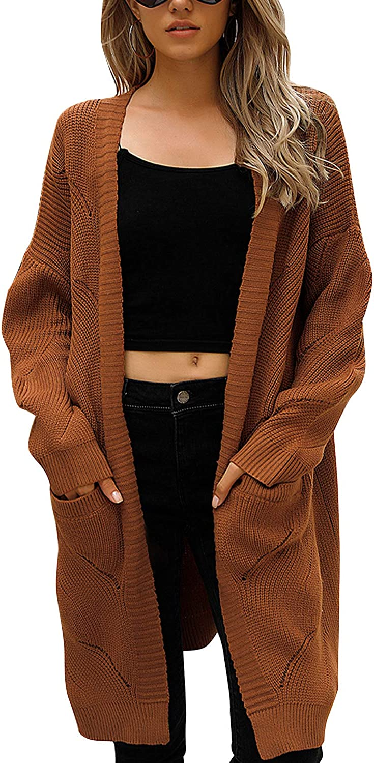Blooming Jelly Women's Long Cardigan Sweaters Oversized Chunky Cardigan OpenFront with Pockets
