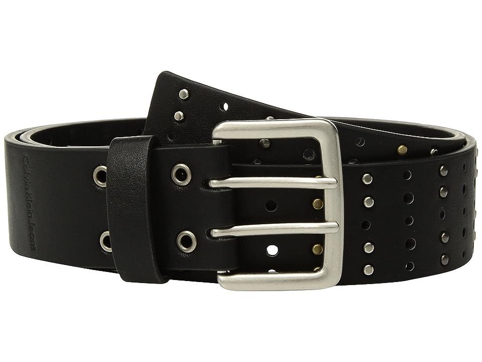 Calvin Klein Flat Strap Belt w/ Multi Finish Studs (Black) Women