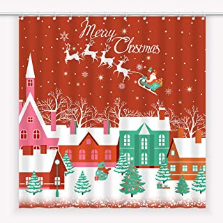 Egoing Christmas Shower Curtains for Bathroom Christmas Red House Fabric Curtains Water Resistant Polyester Bath Curtains for Bathroom Decor with 12 Hooks (Red Christmas House, 180x180 cm)