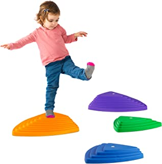 Hey! Play! Triangular Stepping Stones- Fun Triangles for Balance, Coordination and Exercise for Kids- Set of 6 (3 Small Stones and 3 Large Stones)