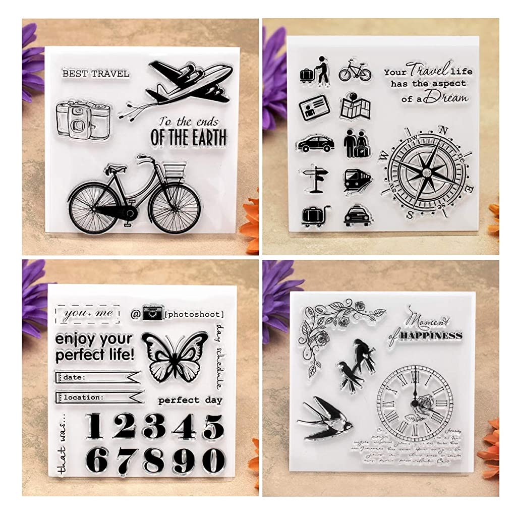 Kwan Crafts 4 Sheets Different Style Travel Camera Clear Stamps for Card Making Decoration and DIY Scrapbooking