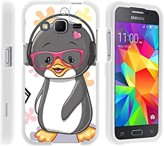 Compatible with Samsung Galaxy Core Prime Case | Prevail | Win 2 [Slim Duo] Hard Shell Snap On Case Compact Fit Cover on White Sea Ocean Design by TurtleArmor - Cute Penguin
