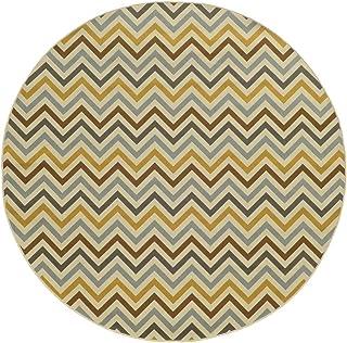"Moretti Origin Indoor/Outdoor Area Rug 4593P Outdoor Ivory Lines Triangles 7' 10"" x 7' 10"" Round"