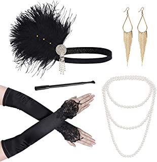 Lurrose 20er Jahre Accessoires 1920er Accessoires Feder haarband für Damen 1920s Kostüm Accessoires inklusive Ohrringe Perlen Halskette Handschuhe Zigarettenhalter Stirnband