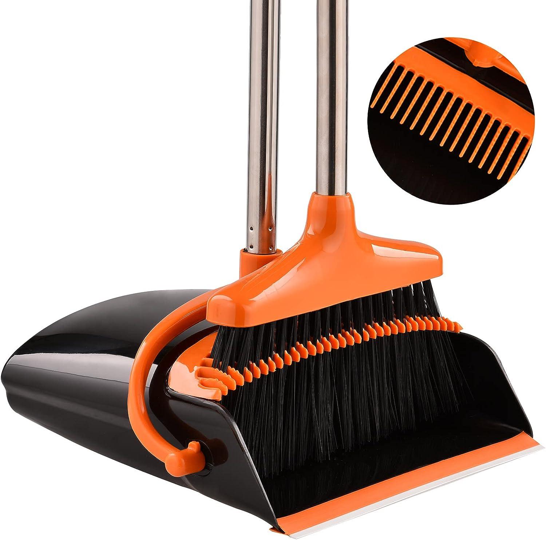 Perastra Long-Handled Broom & Dustpan Set, Upright Standing Dustpan & Super Long Handled Broom with Heavy Duty Bristles for Home Floor Sweeping (Black Orange)