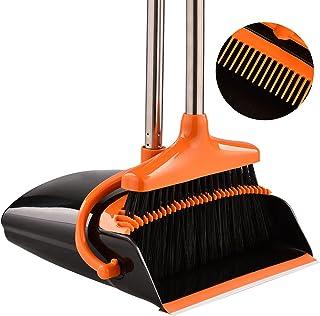 Perastra Long-Handled Broom & Dustpan Set, Upright Standing Dustpan & Super Long Handled Broom with Heavy Duty Bristles fo...