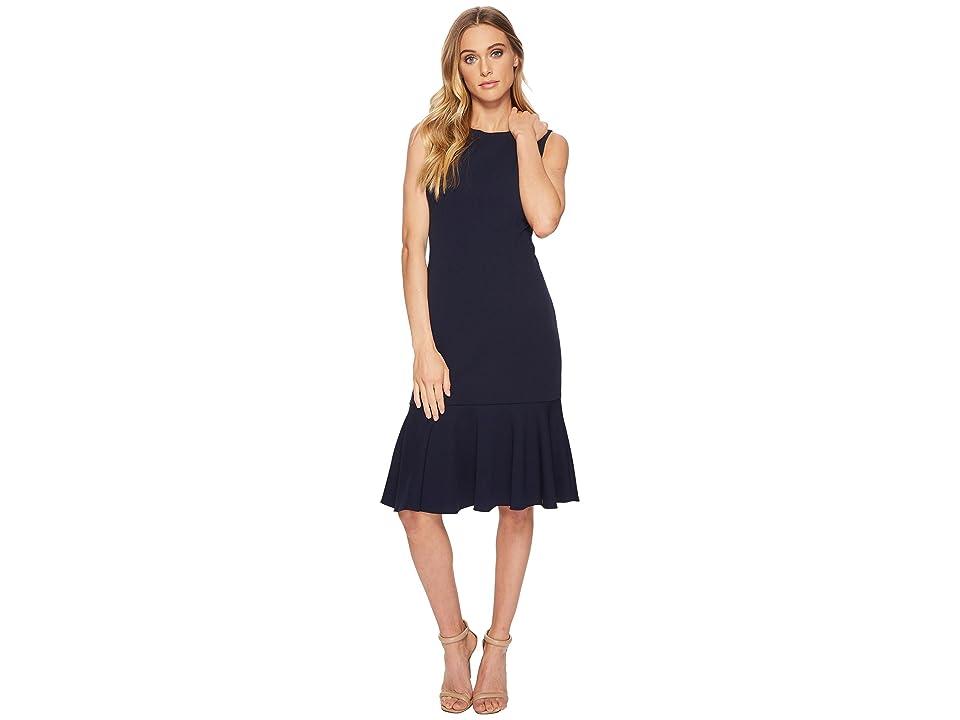 Adrianna Papell Knit Crepe Flounce Dress (Blue Moon) Women