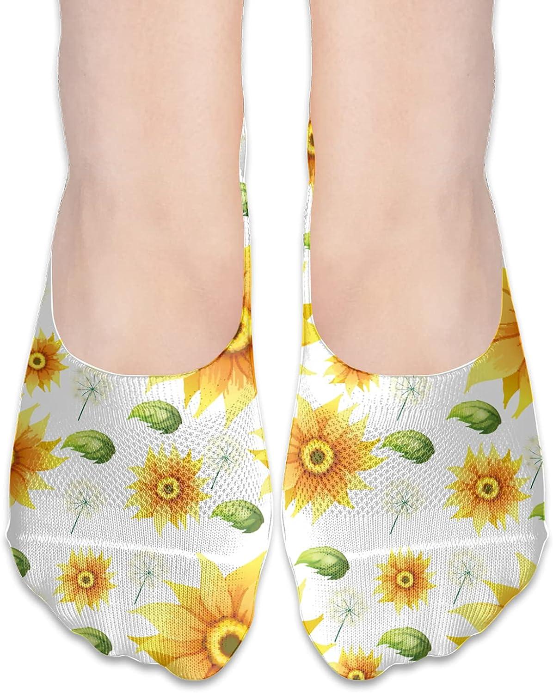 No Show Socks Women Men For Watercolor Sunflower Summer Flats Cotton Ultra Low Cut Liner Socks Non Slip