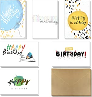 Birthday Cards – 36 Pack Happy Birthday Greeting Cards in 6 Handwritten Modern Styles by KUMY with Self-Sticky Kraft Envelopes Great Assorted Choice for Kids Men and Women, 4x6 Inches Blank Inside