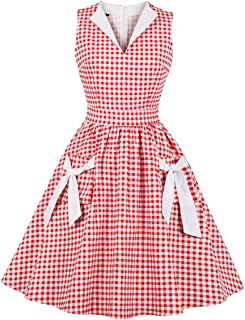 Women's Lapel V Neck Plaid Pocket 1940s 1950s Vintage Swing Dress