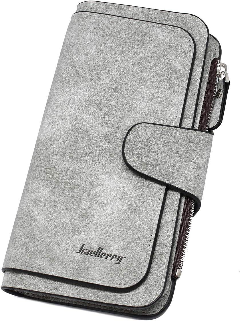 imeetu Womens Wallet PU Leather Clutch Purse Card Holder(Gray)