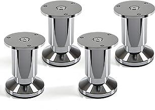 4 stuks SOTECH meubelvoet Alpha, chroom gepolijst, belastbaar tot 250 kg, hoogte: 80 mm verstelbaar