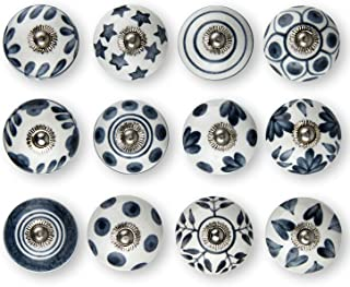 Set of 12 Handmade Knobs | 3 Color Design Ceramic Cabinet Knobs | Drawer Pulls Ideal for Any Home, Kitchen or Office | These Drawer Knobs Comes with 1 Wrench, Screw Cap (Grey)