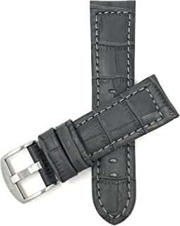 Mens Leather Watch Band Strap, Alligator Pattern, Large Stainless Steel Buckle, 12 Colors (18mm, 20mm, 22mm, 24mm)