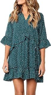 Women's Polka Dot Spot Print V Neck Half Sleeve Ruffle Pleated Loose Dress Tutu Skirt