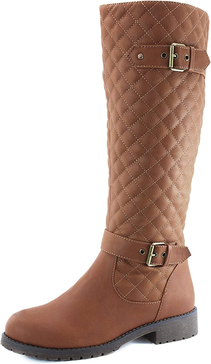 DailyShoes Women's Quilted Round Toe Knee High Combat Rider Mid Calf with Side Pocket