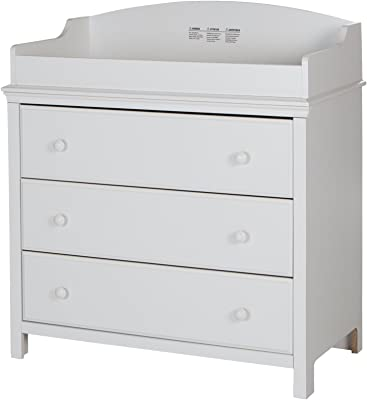 South Shore Cotton Candy Changing Table and Dresser with Drawers, Pure White