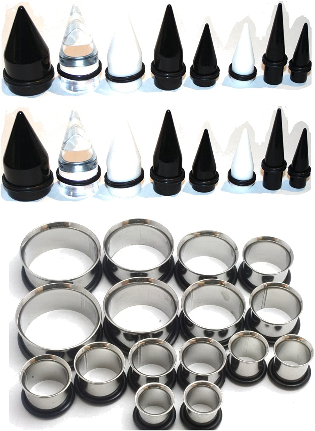 Zaya Body Jewelry 32pc 00g to 1 inch Ear Stretching Kit Black Clear White Tapers Steel Tunnels 7/16 1/2 9/16 5/8 3/4 7/8 1 Inch Plus Instructions