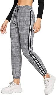 Women's Drawstring Waist Striped Side Jogger Sweatpants with Pocket