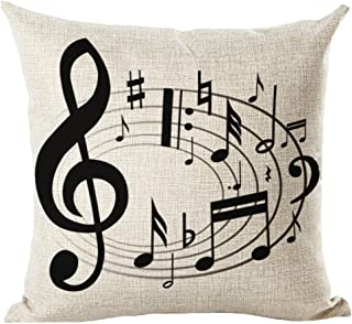 LivebyCare Music Printing Cushion Cover Linen Cotton Cover Throw Pillow Case Sham Pattern Zipper Pillowslip Pillowcase for Decor Decorative Play Study Room