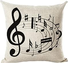 LivebyCare Music Printing Cushion Cover Linen Cotton Cover Throw Pillow Case Sham Pattern Zipper Pillowslip Pillowcase for Decor Decorative Play Study Room