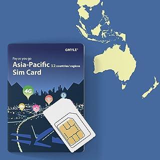 GMYLE Asia 12か国プリペイドプリペイドSIM 5GB 14日間4G / 3Gデータ通信汎用(詰め替え可能なモバイルデータ)/中国、韓国、台湾、香港、シンガポール、マカオ