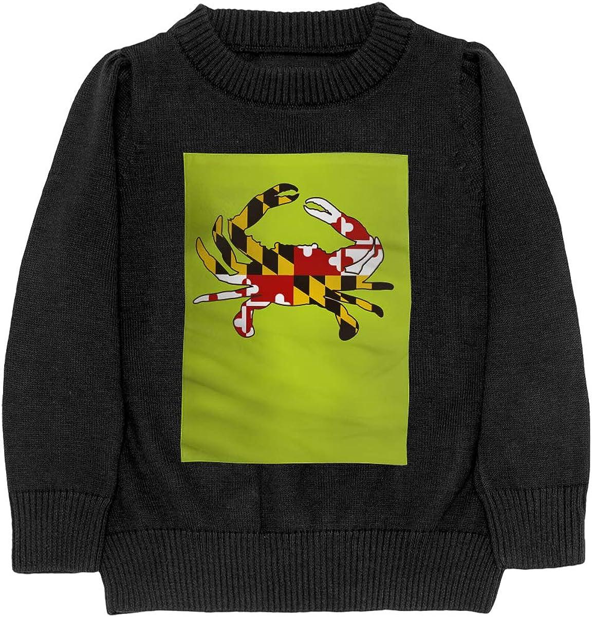 WWTBBJ-B Maryland Flag Crab Style Teenager Boys Girls Unisex Sweater Keep Warm