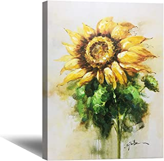 HW Hongwu Wall Art Canvas Sunflower Oil Painting – 20x28inch Flower Pictures, Yellow Flower Hand Painted Artwork, Floral Painting Office Pictures for Wall