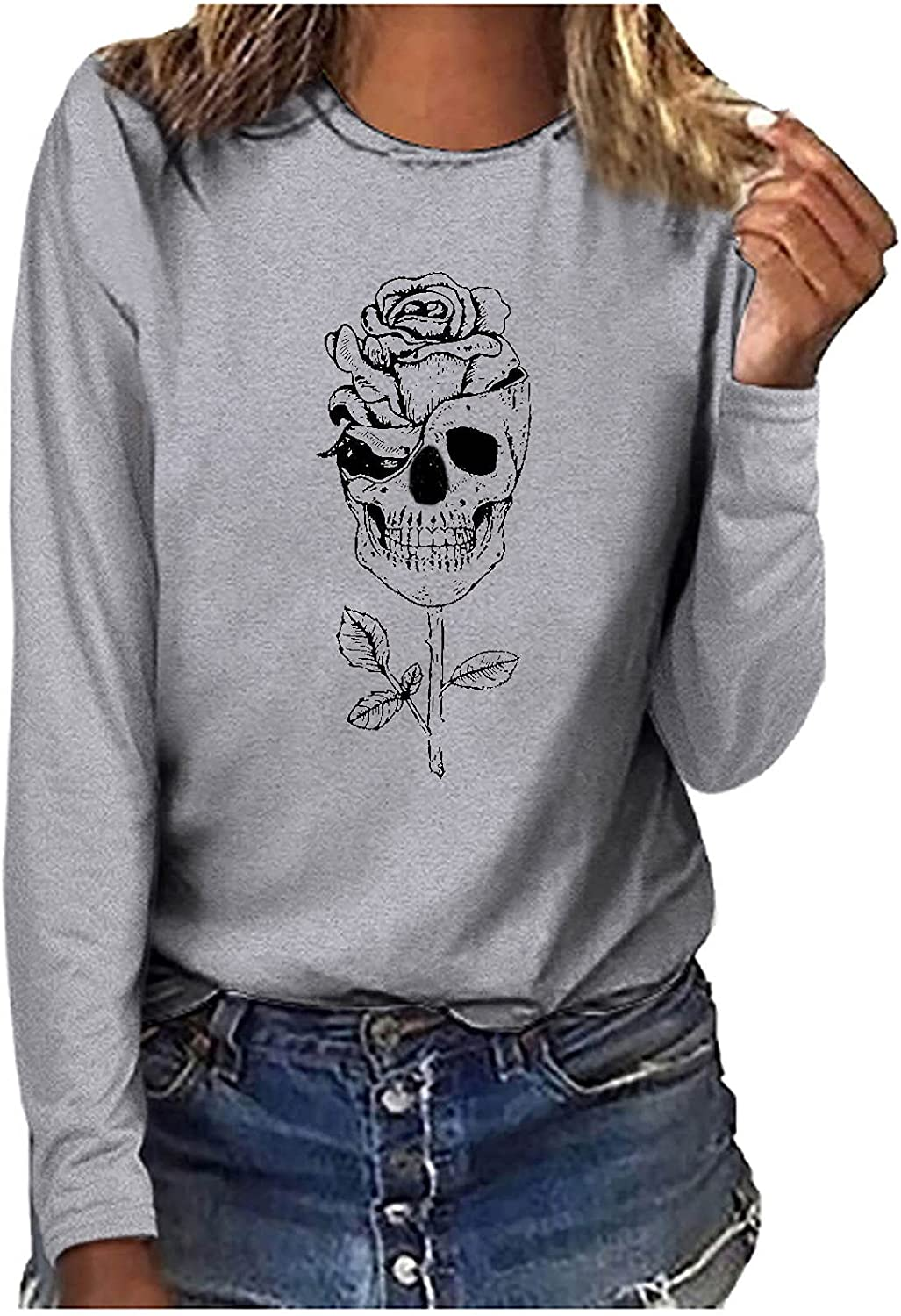 Halloween Sweatshirt Plus Size Tshirts for Women Fall Long Sleeves Crewneck Rose & Skull Graphic Casual Going Out Tops