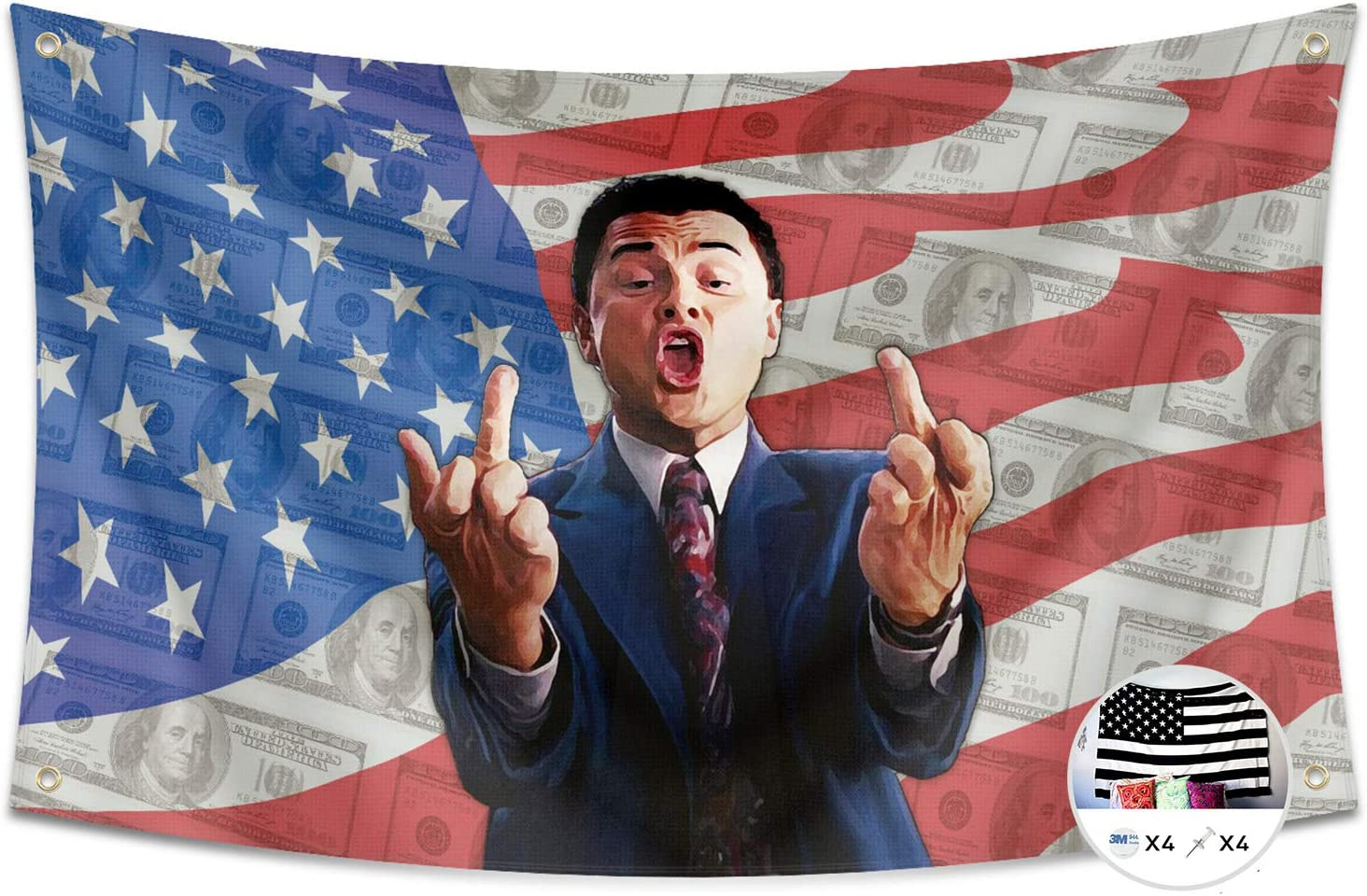 Probsin Wolf of Wall Street Flag Cool Flags,3x5 Feet Banner,Funny Poster UV Resistance Fading & Durable Man Cave Wall Flag with Brass Grommets for College Dorm Room Decor,Parties,Gift,Tailgates