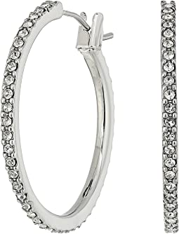 LAUREN Ralph Lauren Social Set Medium Pave Hoop Earrings