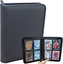 WINTRA 4-Pocket Trading Card Binder, Zippered Card Holder Album, 160 Side-Loading Pocket Binder for Pokemon, Magic,Sports ...