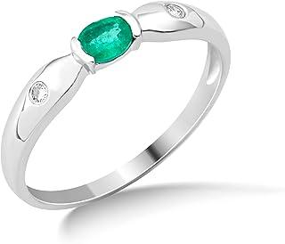 47058abdcfc434 Miore 9ct White Gold Emerald and Diamond Ring MG9126R