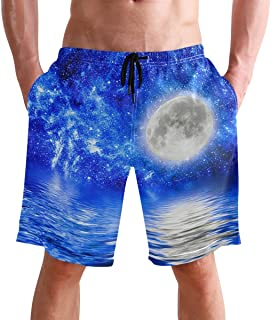 FFY Go Beach Shorts, Planet Earth in Space Printed Mens Trunks Swim Short Quick Dry with Pockets for Summer Surfing Boards...