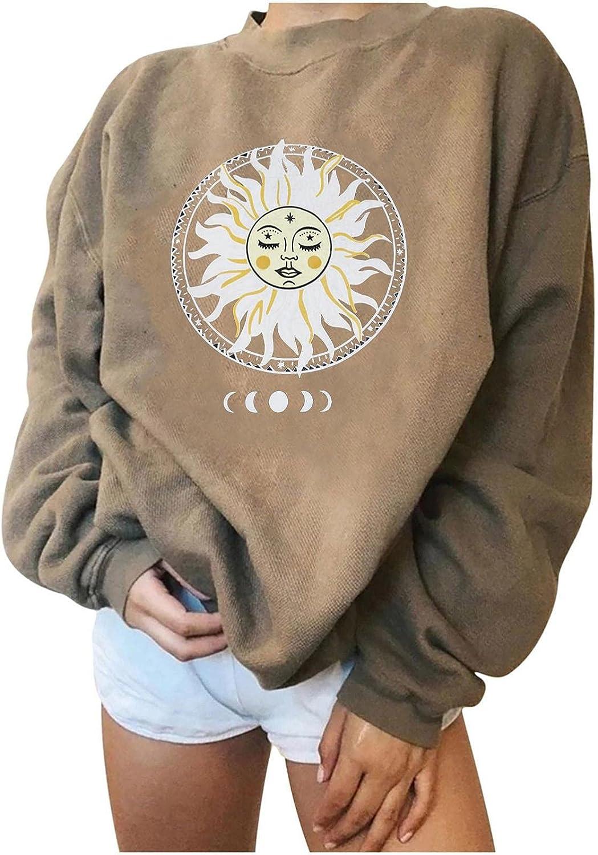 Aniwood Crewneck Sweatshirts for Women Pullover, Women Teen Girls Hoodies Long Sleeve Hooded Vintage Print Sweatshirts