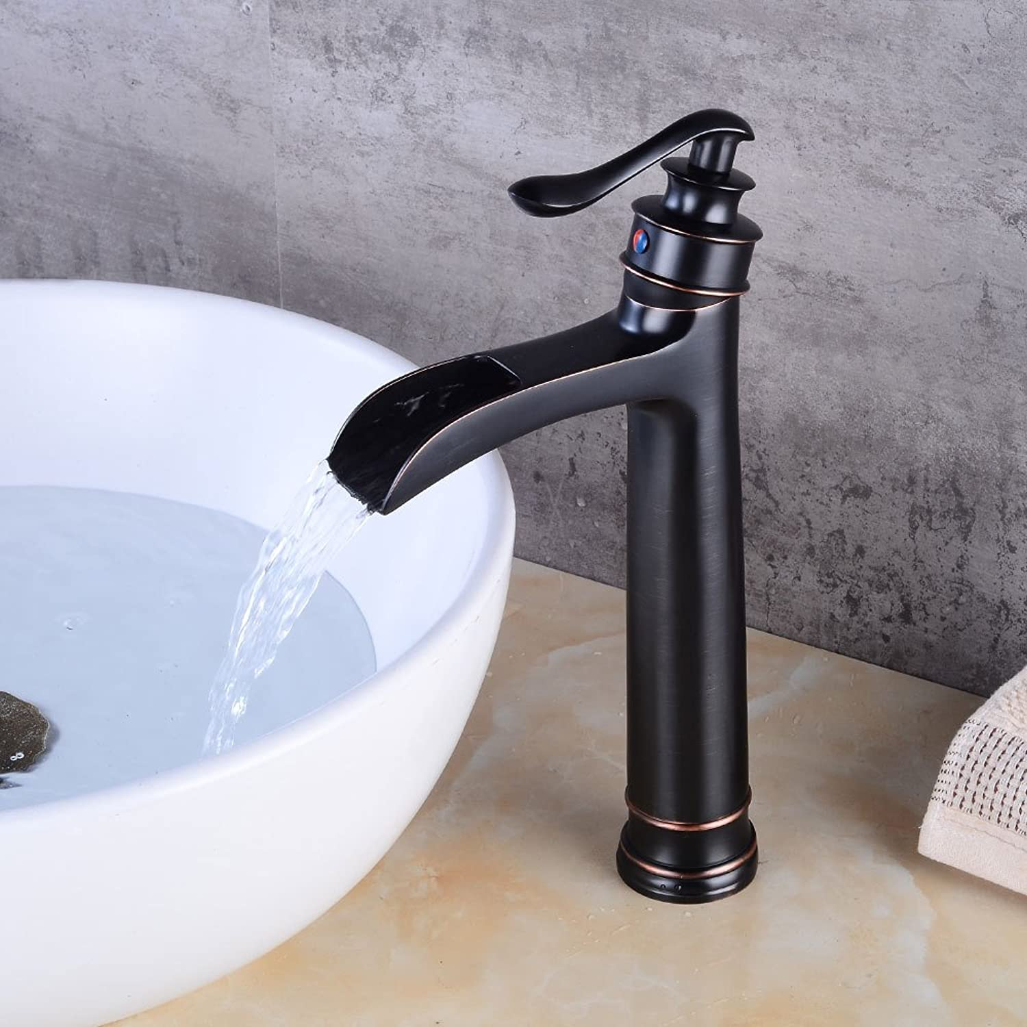 Makej European Type Black Antique Waterfall Cold Hot Water Faucet Retro Single Hole